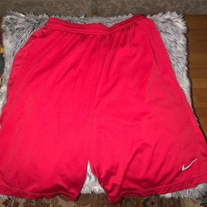red Nike dri-fit shorts